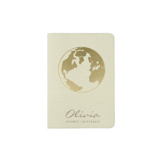 CREAM WHITE GOLD WORLD GLOBE LEATHER MONOGRAM PASSPORT HOLDER