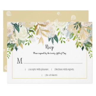 Cream White Roses Cascade Glitter Greenery RSVP | Card