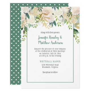 Cream White Roses Cascade Polka Dots Wedding Card