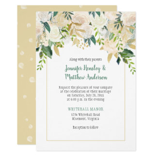 Cream White Roses Cascade Wedding Invitation