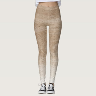 Cream & White Wood Design Leggings