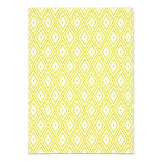 Cream Yellow and White Diamond Pattern 13 Cm X 18 Cm Invitation Card