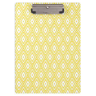 Cream Yellow and White Diamond Pattern Clipboards