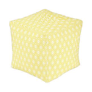Cream Yellow and White Diamond Pattern Cube Pouffe