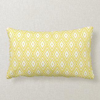 Cream Yellow and White Diamond Pattern Cushions