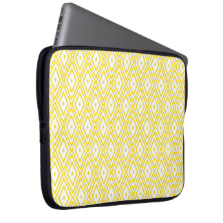 Cream Yellow and White Diamond Pattern Laptop Sleeves
