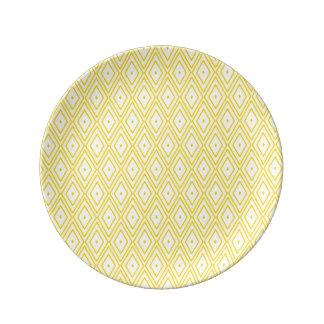 Cream Yellow and White Diamond Pattern Porcelain Plate