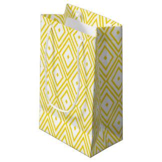 Cream Yellow and White Diamond Pattern Small Gift Bag