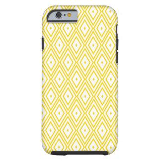 Cream Yellow and White Diamond Pattern Tough iPhone 6 Case