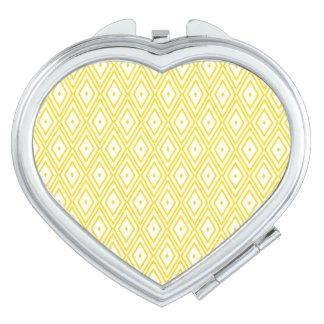 Cream Yellow and White Diamond Pattern Travel Mirrors