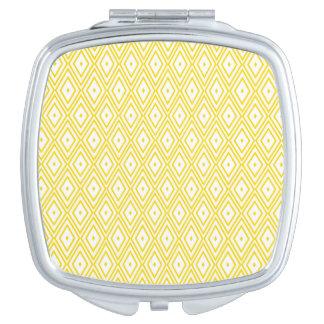 Cream Yellow and White Diamond Pattern Vanity Mirrors