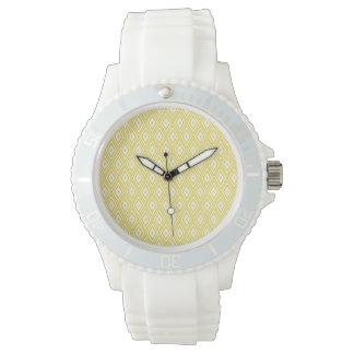 Cream Yellow and White Diamond Pattern Watch