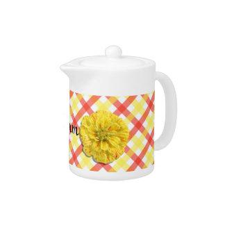 Creamer/Teapot - Candy Stripe Zinnia on Lattice