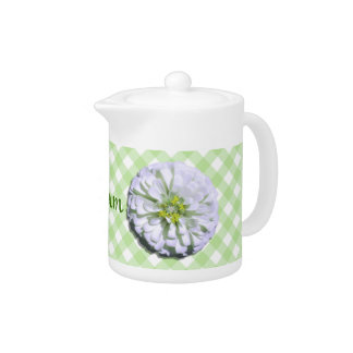 Creamer/Teapot - White Zinnia on Lattice