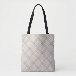 Creams Tans Grays Plaid Patterned Fabric Tote