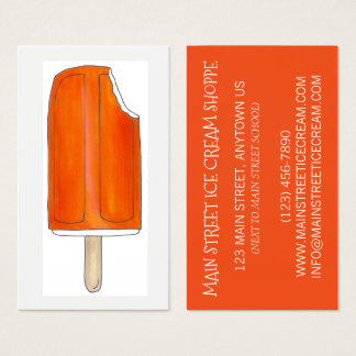 Creamsicle Orange Ice Cream Shoppe Popsicle Pops Business Card