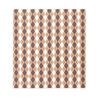 Creamsicle, White And Brown Argyle Pattern Notepads