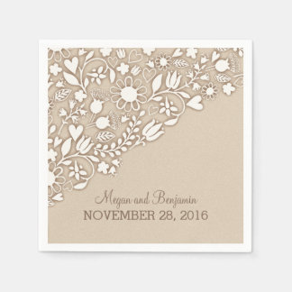 creamy brown flourishes wedding paper napkin