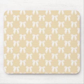 Creamy Buff Pastel With White Bows Mouse Pad