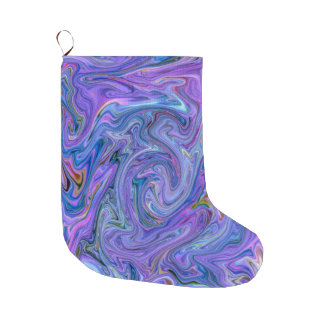 creamy Colors, blue Large Christmas Stocking