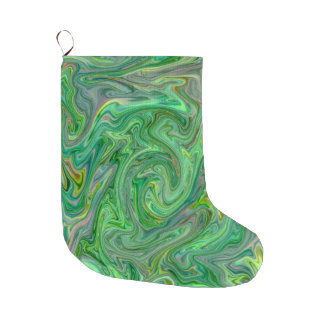 creamy Colors,green Large Christmas Stocking