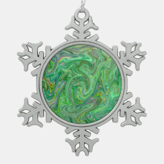 creamy Colors,green Snowflake Pewter Christmas Ornament
