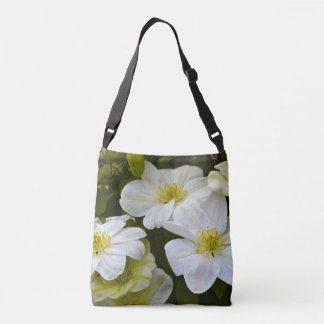 Creamy Soft White Clematis Flower Crossbody Bag