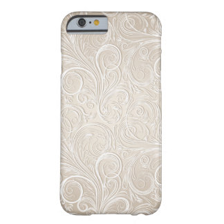 Creamy White & Gold Floral Paisley Swirls Barely There iPhone 6 Case