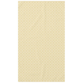 Creamy Yellow and White Quatrefoil Tablecloth