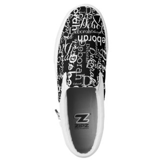 create a black-and-white typography printed shoes
