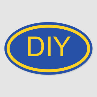 Create a Blue and Gold Euro Style Oval Sticker