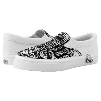 create a cool black-and-white typography printed shoes