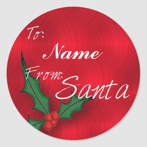 Create A Name Christmas Gift Tags Round Sticker