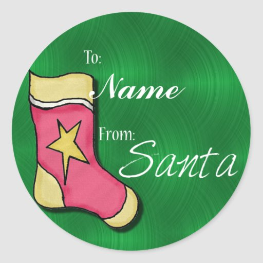 Create A Name Christmas Gift Tags Round Stickers