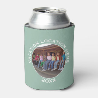 Create A Vacation Souvenir with Photo and Text Can Cooler