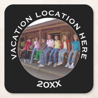 Create A Vacation Souvenir with Photo and Text Square Paper Coaster