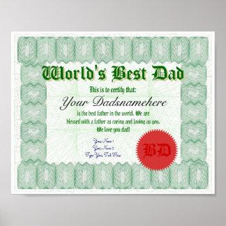 Create a World's Best Dad Certificate Print