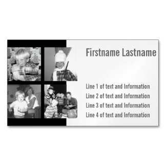 Create an Instagram Collage with 4 photos - black Magnetic Business Card