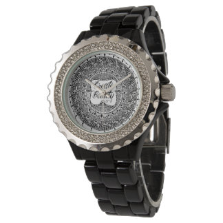 Create Beauty Mandala Rhinetone Watch. Black Watches