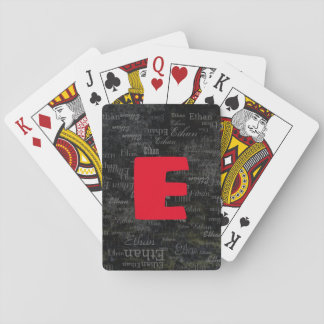 create black playing cards with name / initial