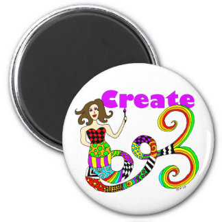 Create Colorful Mermaid Muse Round Magnet