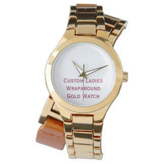 Create Custom Ladies Wraparound Leather Gold Watch