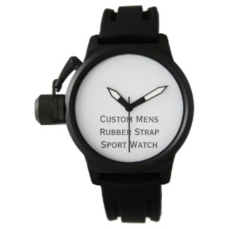 Create Custom Mens Black Rubber Strap Sport Watch