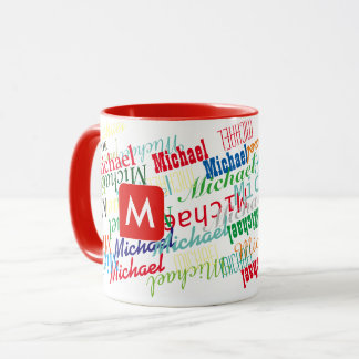 create / design your own name pattern red mug