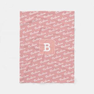 create girl name monogram pink fleece blanket