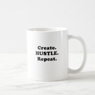 Create Hustle Repeat Basic White Mug