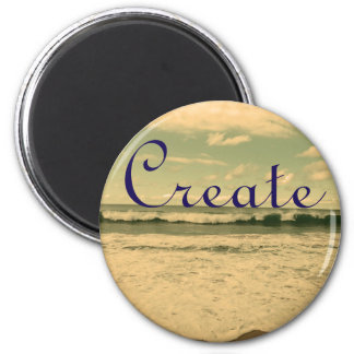 """Create"" Ocean Waves Photograph 6 Cm Round Magnet"