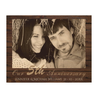Create Own 5th Wedding Anniversary PHOTO Gift Name Wood Print