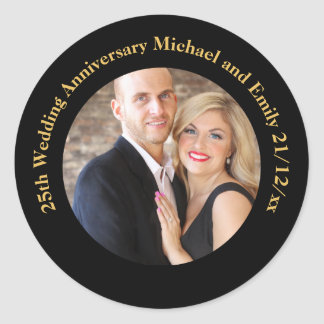 Create Own ANNIVERSARY PHOTO Stickers Black Gold