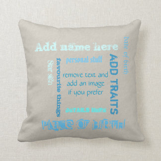 Create own chalkboard word cloud cushion, earthy throw pillow